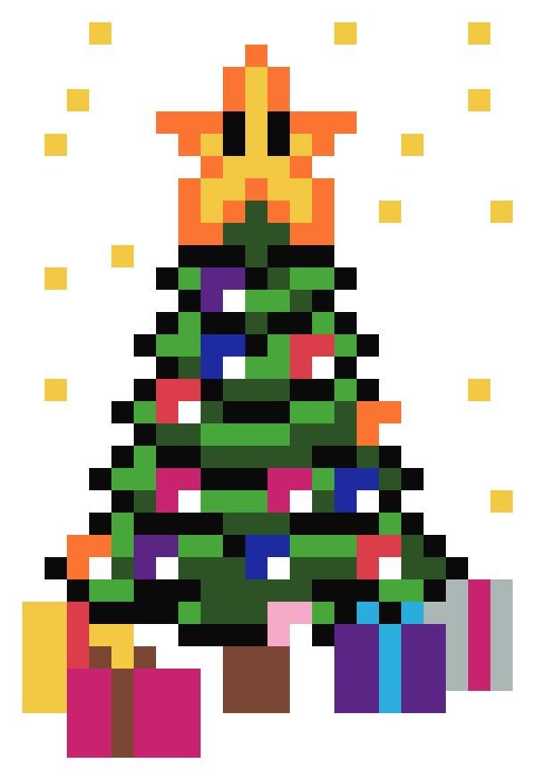 dessin pixel sapin