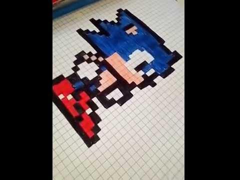 dessin pixel sonic