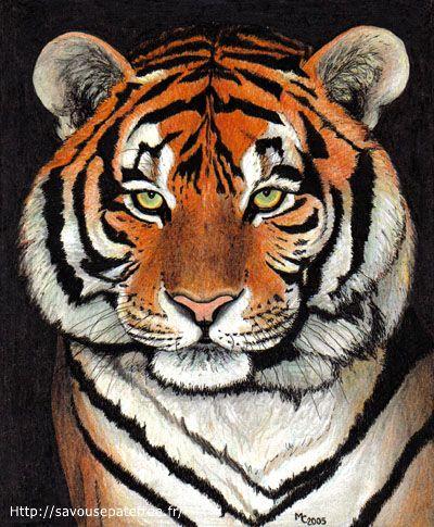dessin pixel tigre