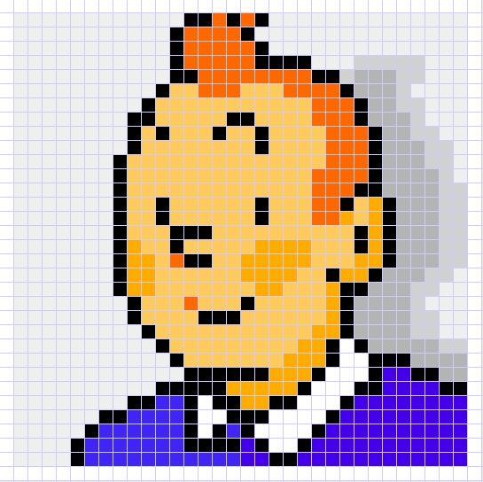 dessin pixel tintin