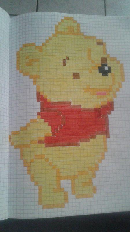 dessin pixel winnie l'ourson