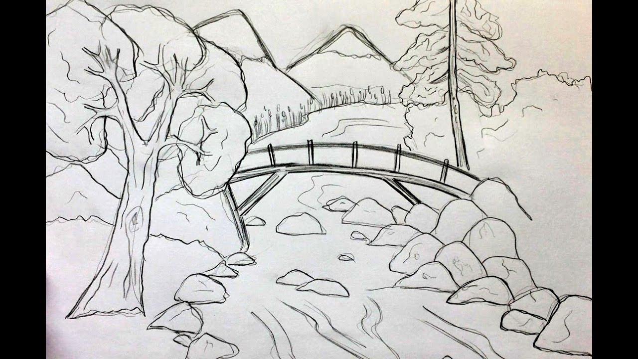 dessin paysage - Les dessins et coloriage